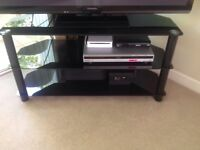 TV) stand in black with 3 shelves as new nice easy to clean & assemble if needed