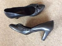 M&S Charcoal Grey Court Shoes.