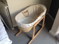 Hardly ever used Moses Basket for sale.
