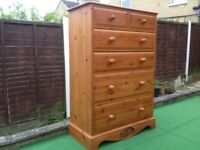 pine chest of DRAWERS : LARGE PLANKED SOLID PINE