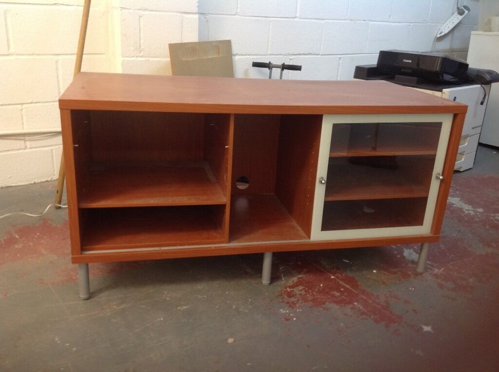 ikea magiker tv stand / entertainment unit with glass door | in,