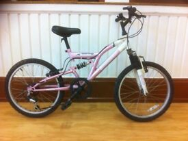 "Girls Mountainbike - 20"" wheels, dual suspension, 6-speed"
