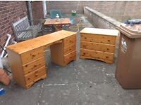 Pine effect dressing table bad matching three drawer chest