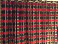 Bronze/red pair of curtains & pole