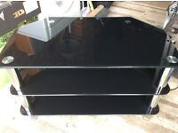 Black glass tv stand and nest of black glass tables