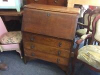 Solid oak vintage writing bureau