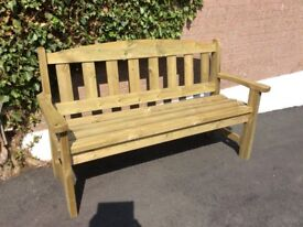 3 seater wooden garden bench. 4 slats 17 inches width 63inches long 37inches height Comfortable seat