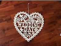 Wedding wooden storage box and wedding heart shape sign