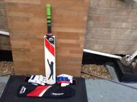 Slazenger bat and cover,and right hand batting gloves