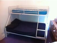 Bunk bed with doubl and singke beds, 80£