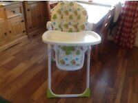 Mothercare highchair - hardly been used, lots of useful features