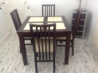 Dining Table Set Dark Wood / Beige Marble Detail 90cm Square with 4 Matching Chairs