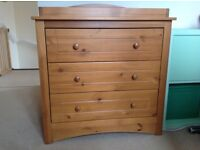 Mothercare pine changing table / drawers and wardrobe