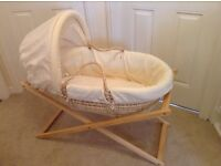 Mamas and Papas Zeddy and Parsnip Collection Moses Basket and Stand. Immaculate condition.