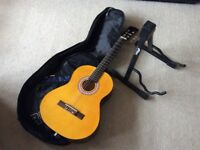 Children's 3/4 size guitar with case and stand