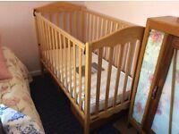 Mamas & Papas beechwood cot including a pair of curtains