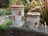 Pair of terracotta strawberry pots