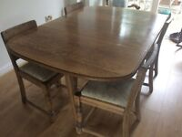 Stripped And Waxed Oak Drop Leaf Dining Table 4 Chairs