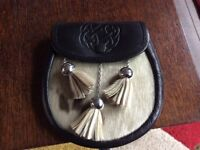 Leather and seal skin day sporran £10 no chain