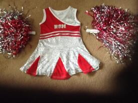 High school musical dress and two Pom Poms. good condition Disney size 3to4 years .