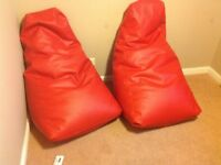 High back bean bags, Red Faux Leather