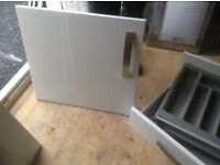 Kitchen Unit Doors/ End Panels/ Kickboards/ Drawers - Gloss White with steel handles