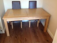 FRENCH OAK EXTENDABLE DINING TABLE AND CHAIRS