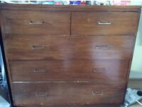 BEAUTIFUL STRONG WOOD CHEST OF 5 DRAWERS NEEDS GOOD HOME