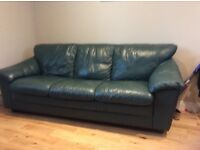 Green leather 3 seater sofa bed with slatted base