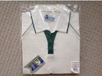 GUNN and MOORE 7007 PREMIER PLUS MENS CRICKET SHIRT 3/4 SLEEVE LIGHT CREAM AND GREEN LARGE SIZE
