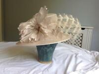 Gorgeous formal ladies hat in cream with flower and feather detail