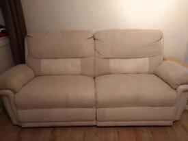 DFS Electric Recliner Cream Fabric Sofa