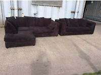 Brown Jumbo Cord Corner & 3 Seat Sofa Set - New - £449 Including Free Local Delivery