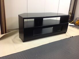 TV stand/table corner unit with glass top.