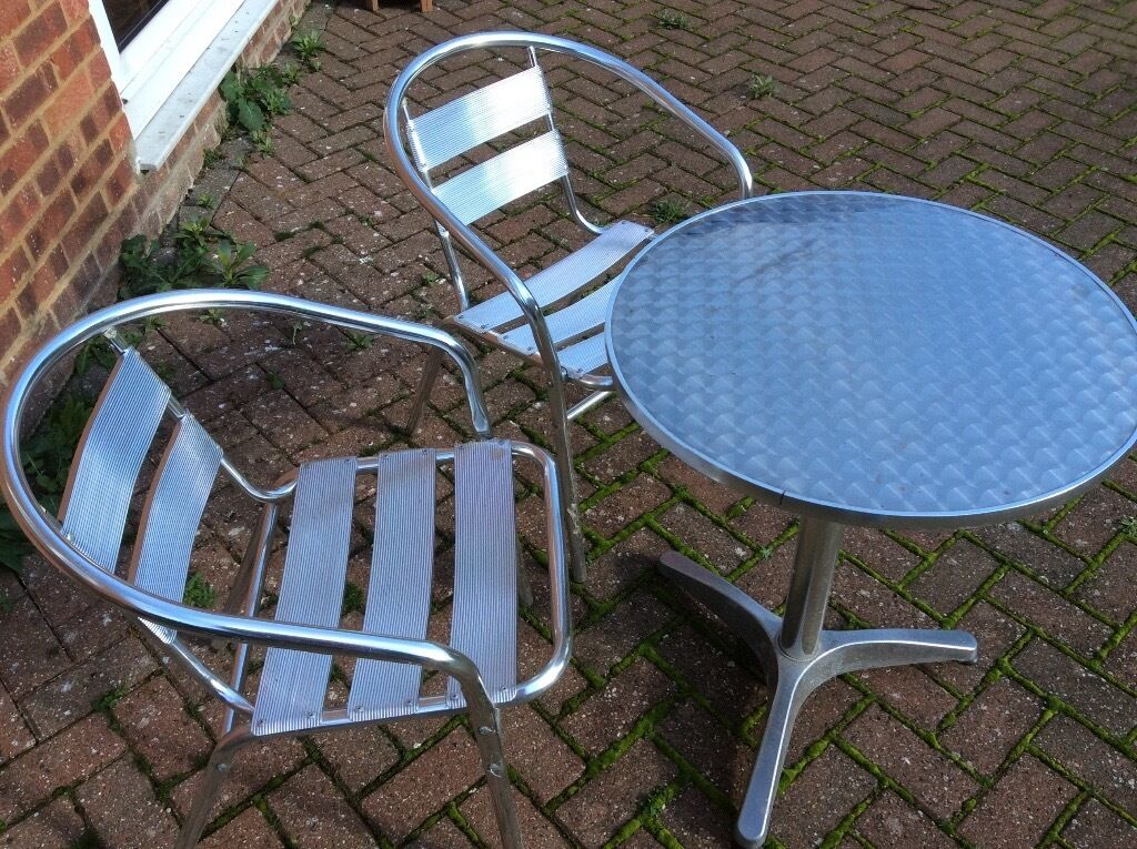 Patio Furniture Bistro Set. Aluminium round table and 2 chairs with ...
