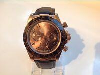 Rolex-Daytona-leather strap – chocolate face – rose gold case