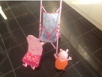 Peppa pig dolls buggy,toy & backpack
