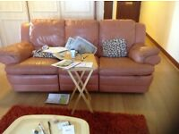 Leather settee large three seater,,£65.00