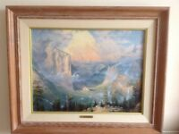 Painting of setting sun over Yosemite Valley light oak frame 82x 67cms