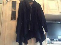 Black suede fluted jacket