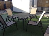 Garden Aluminiun table and Reclining chairs