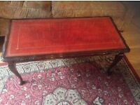 Red leather top table
