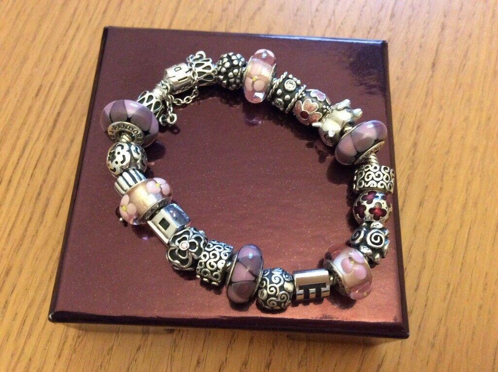 Fully laden silver Pandora bracelet
