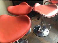 3 x red leather and chrome breakfast bar stools