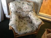2 seater cane sofa with 2 matching arm chairs vgc
