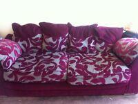 2+3 seater sofas grey and burgundy purple