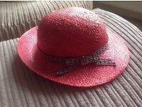 Deep pink/red straw effect hat