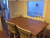 Farmhouse table and six chairs in solid pine