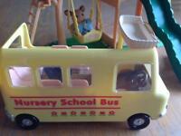 Sylvanian Families Nursery school bus & playground set