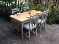 Solid wood rectangle farmhouse style table & 4 chairs, rustic, shabby chic, free delivery